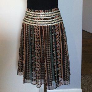 FREE PEOPLE Boho Skirt Sequin Sheer tribal A-line